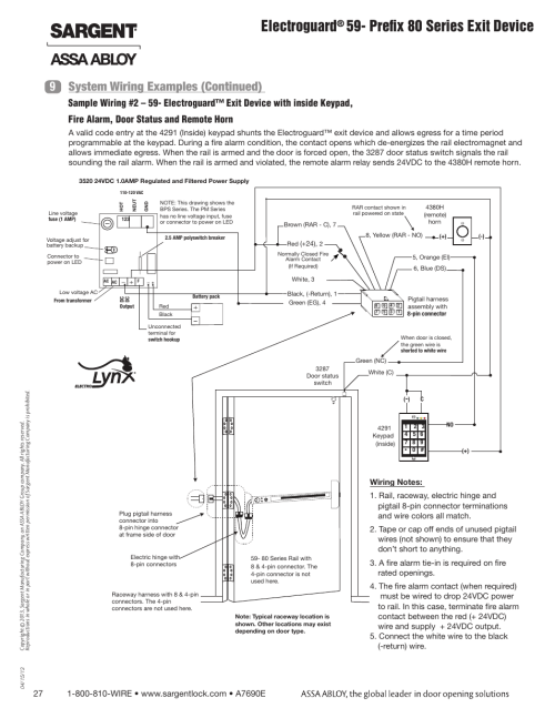 small resolution of electroguard prefix 80 series exit device system wiring examples continued 9 sargent fm8700 surface vertical rod exit device user manual page 27
