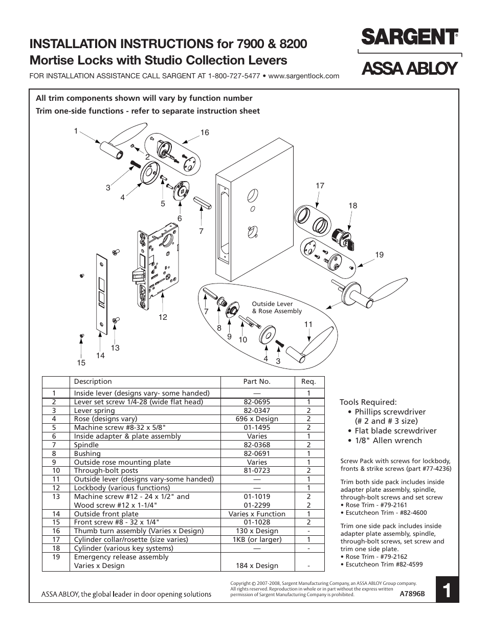 medium resolution of sargent 7900 mortise lock user manual 4 pages also for 8200 mortise lock parts diagram further sargent mortise lock parts diagram