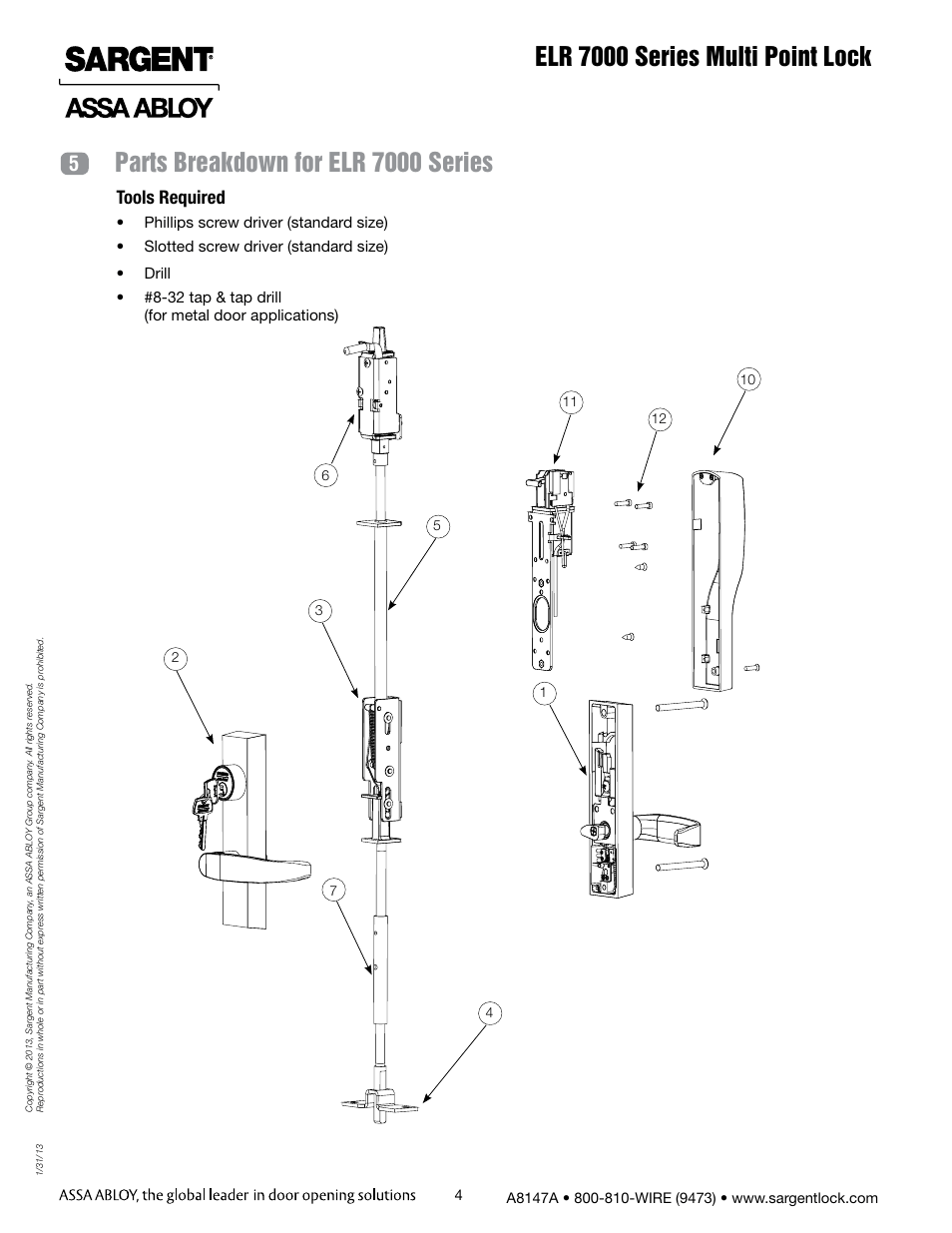 Elr 7000 series multi point lock, Parts breakdown for elr