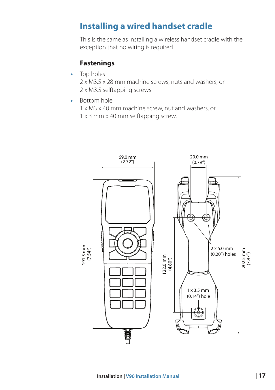 hight resolution of installing a wired handset cradle fastenings b g v90 vhf radio user manual page 17 29