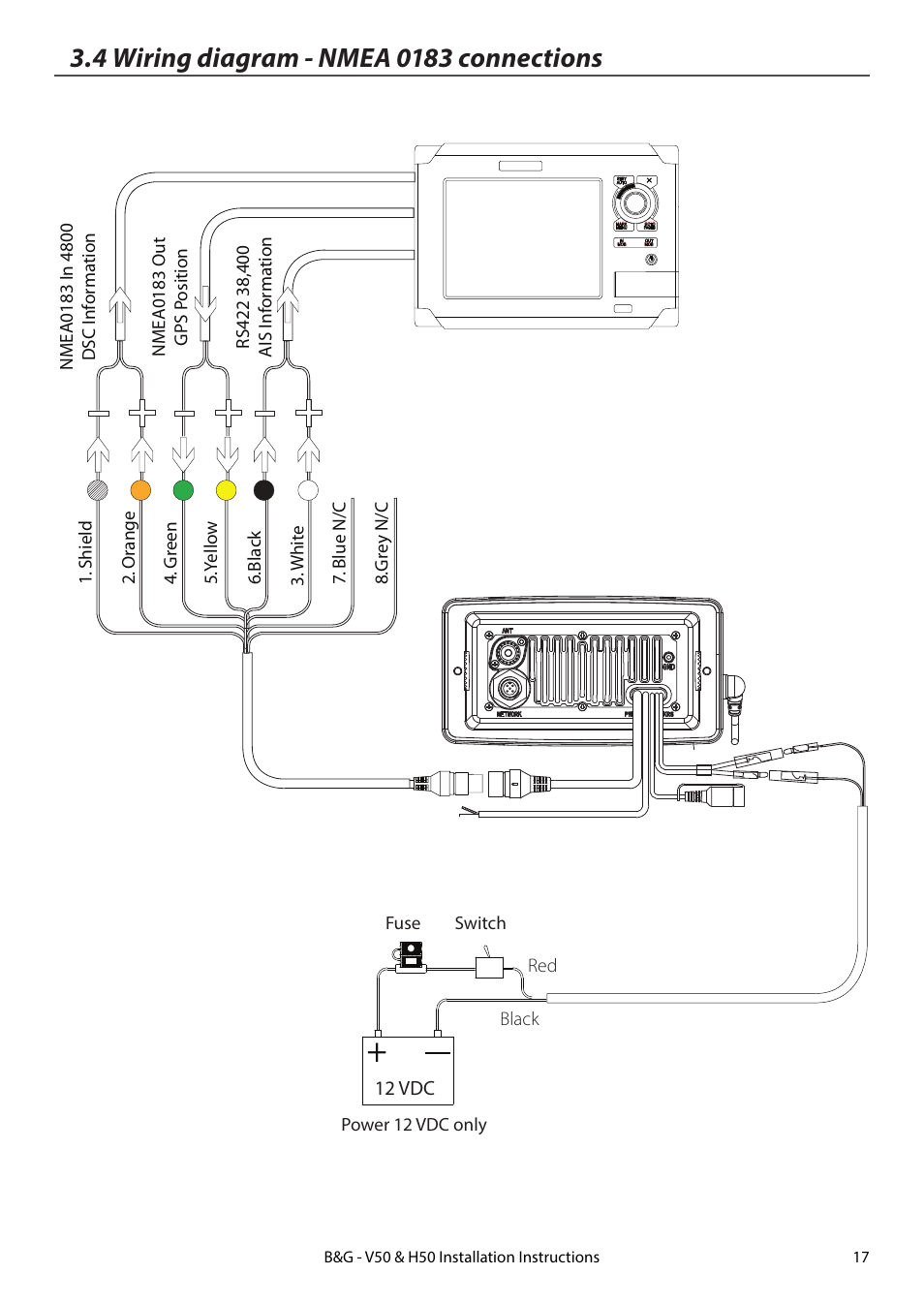 hight resolution of 4 wiring diagram nmea 0183 connections b g h50 wireless vhf handset user manual page 17 22