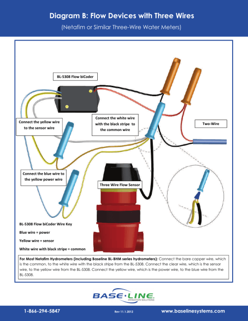 small resolution of diagram b flow devices with three wires netafim or similar three wire water meters baseline systems bl 5308 user manual page 3 4