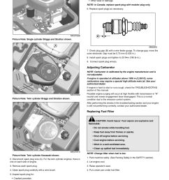 adjusting carburetor replacing fuel filter service engine john deere z425 user manual  [ 954 x 1235 Pixel ]
