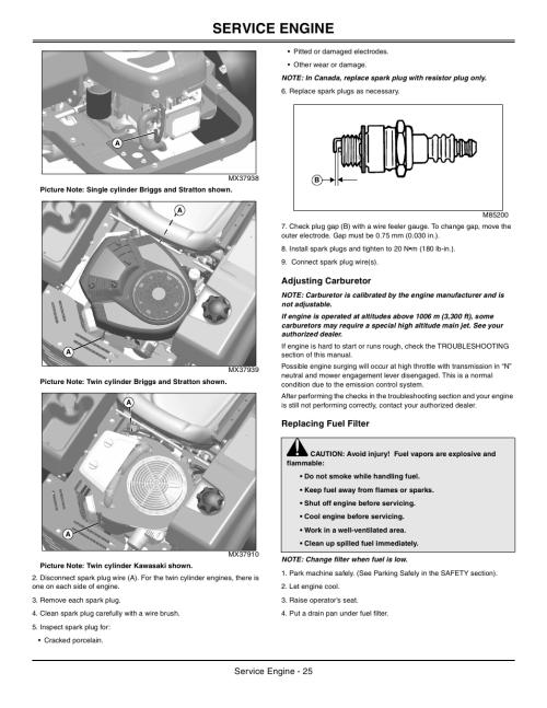 small resolution of adjusting carburetor replacing fuel filter service engine john deere z425 user manual
