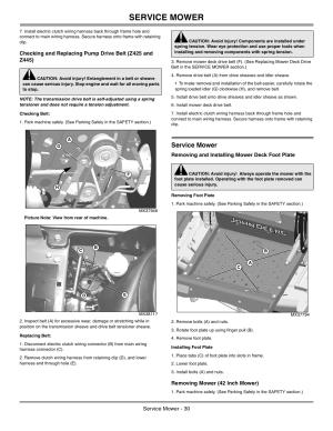 Checking belt, Replacing belt, Service mower | John Deere z425 User Manual | Page 31  48