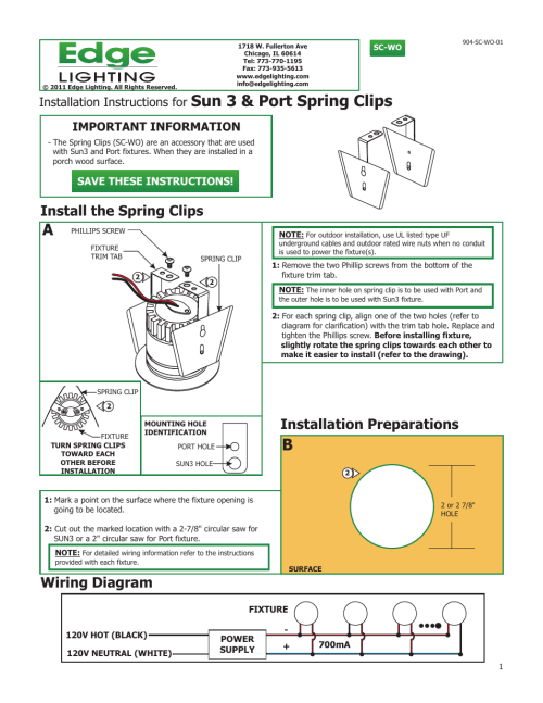small resolution of edge lighting port led components user manual 1 page also for sun3c ceiling led downlight components indoor outdoor