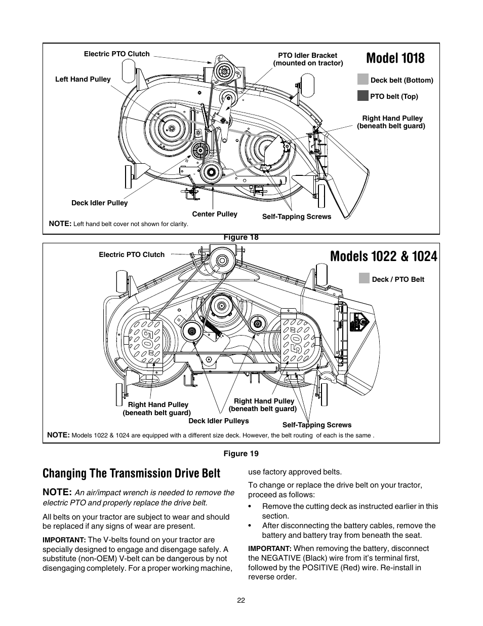 medium resolution of model 1018 changing the transmission drive belt cub cadet lt1022 user manual page 22 28