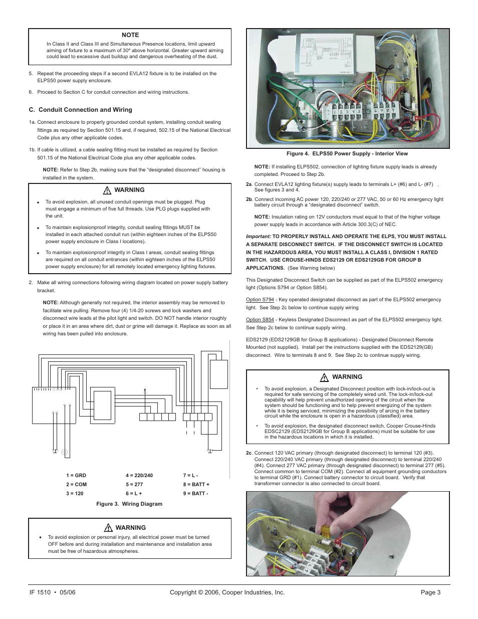 medium resolution of c conduit connection and wiring warning cooper lighting elps502 user manual page 3 24
