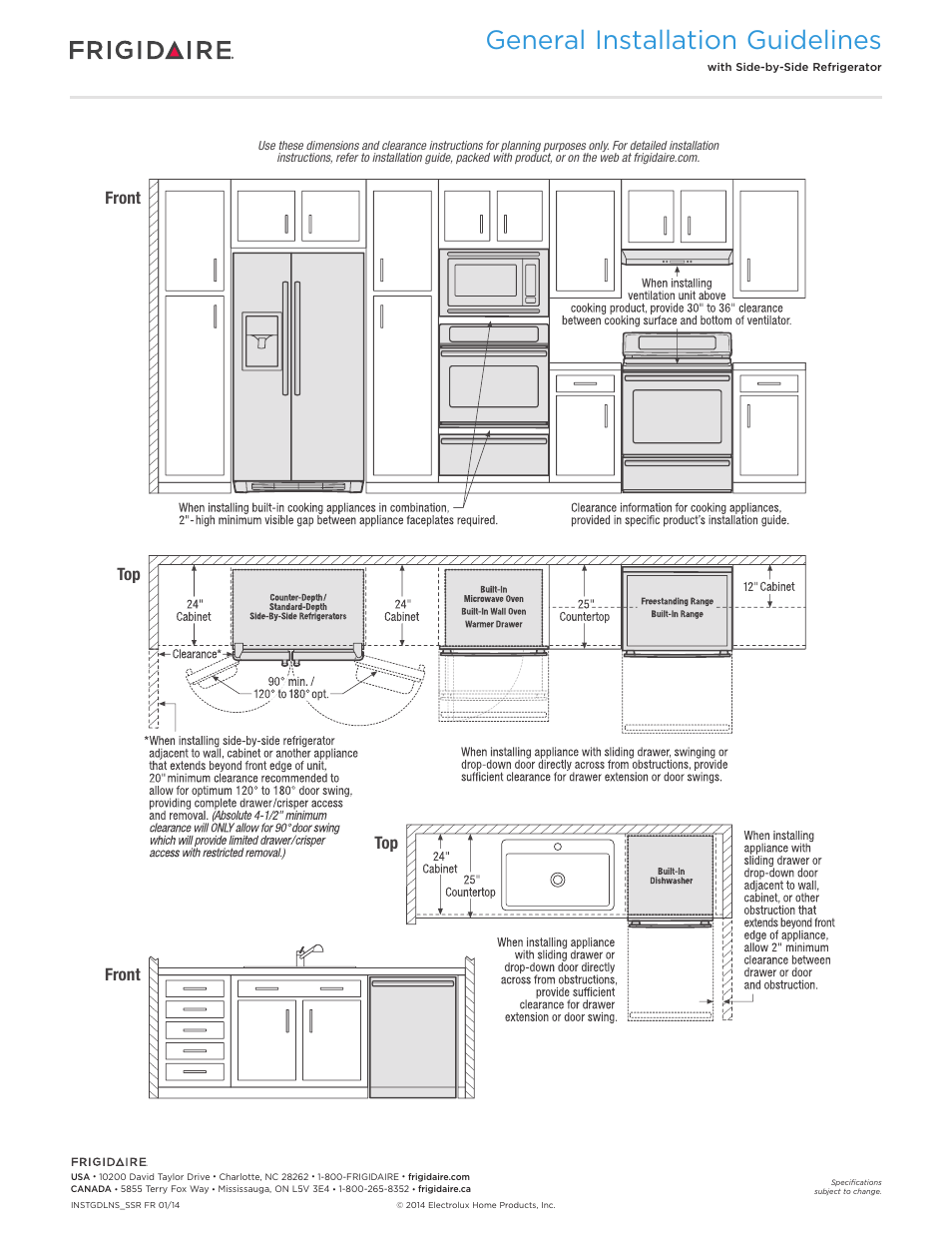 General installation guidelines, Front top front