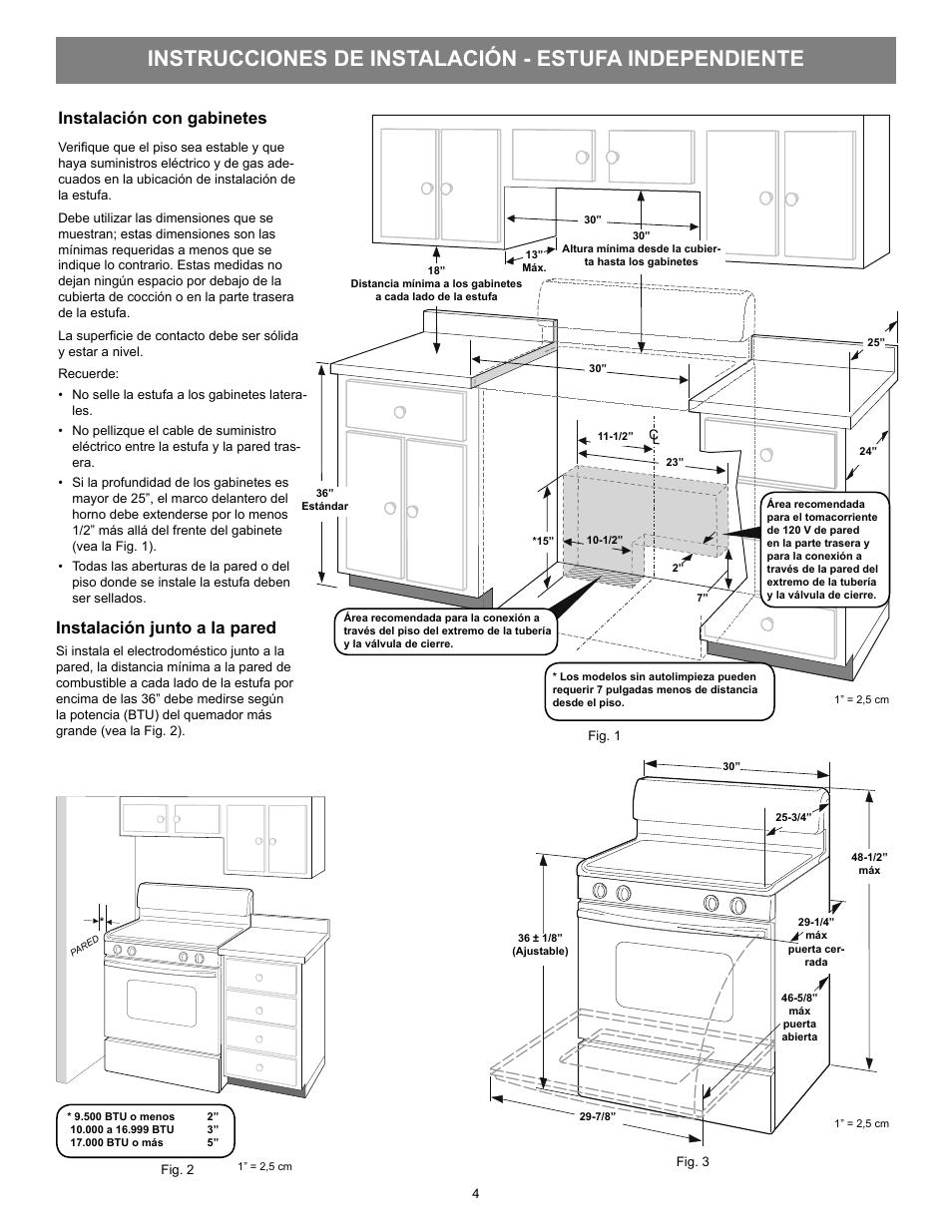 Instalación con gabinetes, Instalación junto a la pared