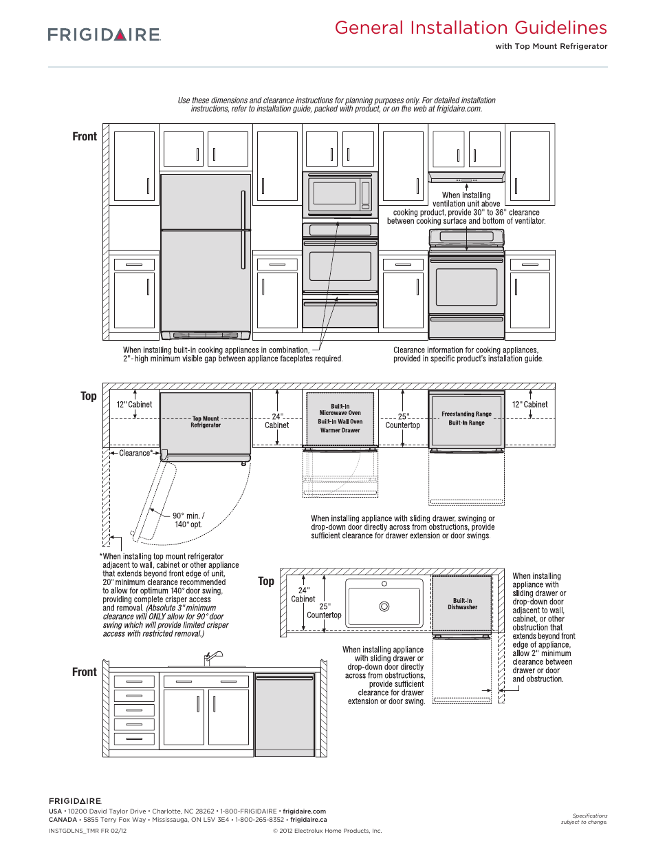 General installation guidelines, Front top front top