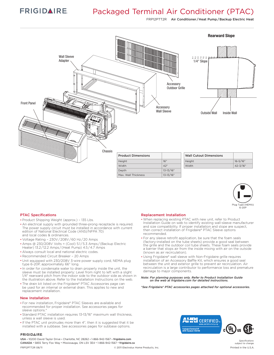 medium resolution of packaged terminal air conditioner ptac rearward slope frigidaire frp12ptt2r user manual page 3 6
