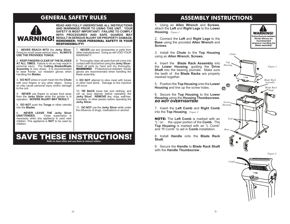 Save these instructions, Warning, General safety rules