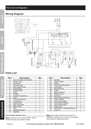 Wiring diagram, Parts list | Chicago Electric MIG 180 Wire