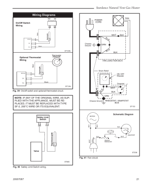 Stardance natural vent gas heater, Wiring diagrams