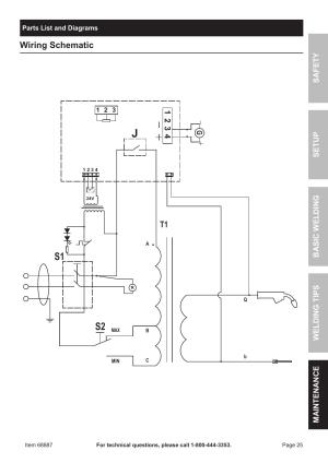 S2 s1, Wiring schematic | Chicago Electric 90 AMP FLUX