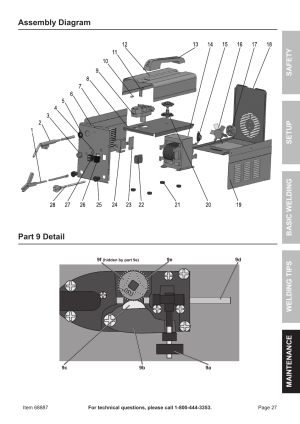 Part 9 detail assembly diagram | Chicago Electric 90 AMP FLUX WIRE WELDER 68887 User Manual