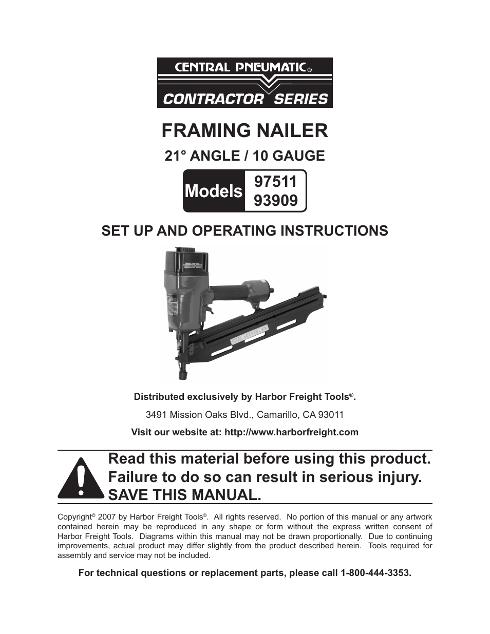 Central Pneumatic Framing Nailer Parts Diagram