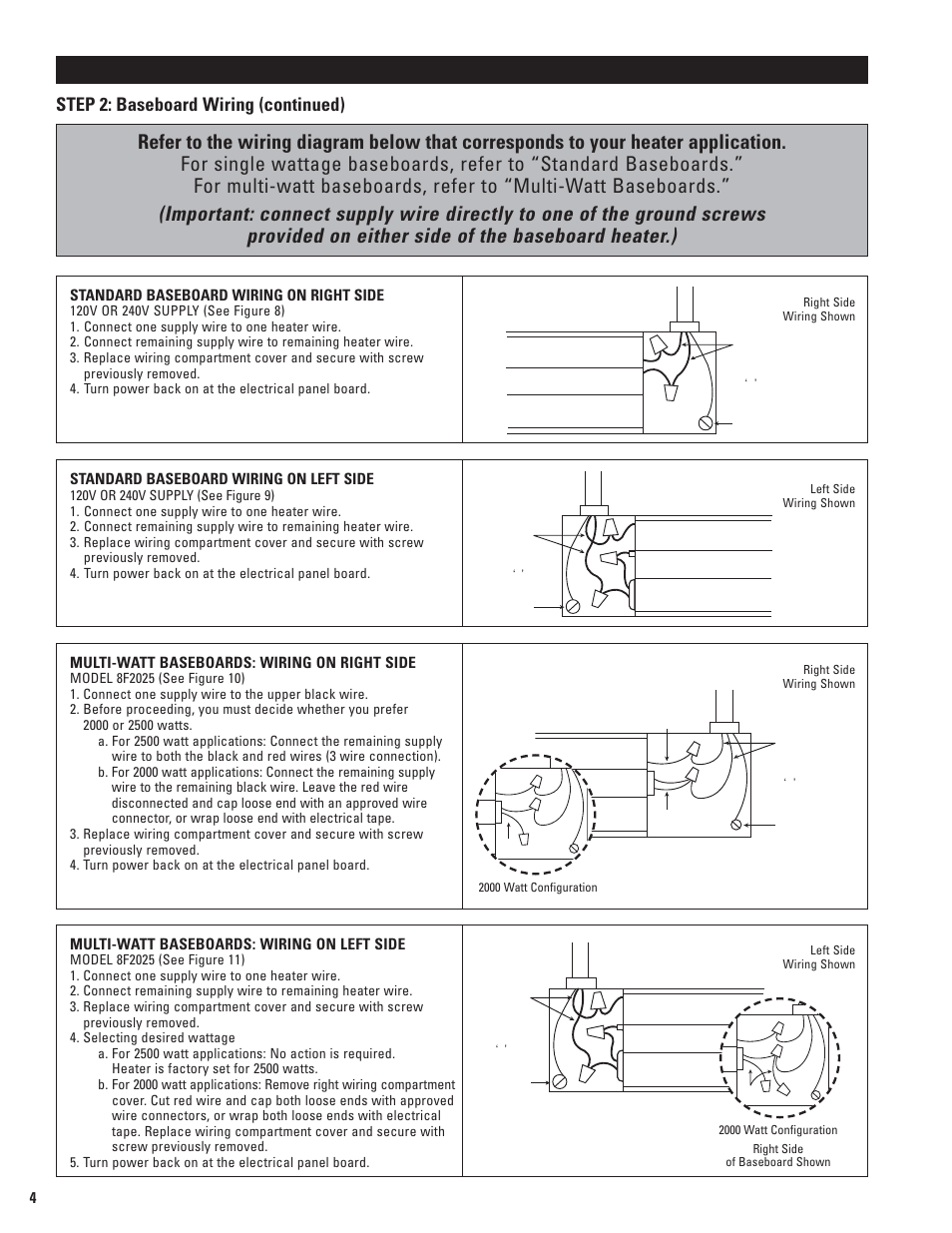 cadet baseboard heater wiring diagram painless 66 mustang installation instructions, step 2: (continued) | 5f1250-8 user manual ...