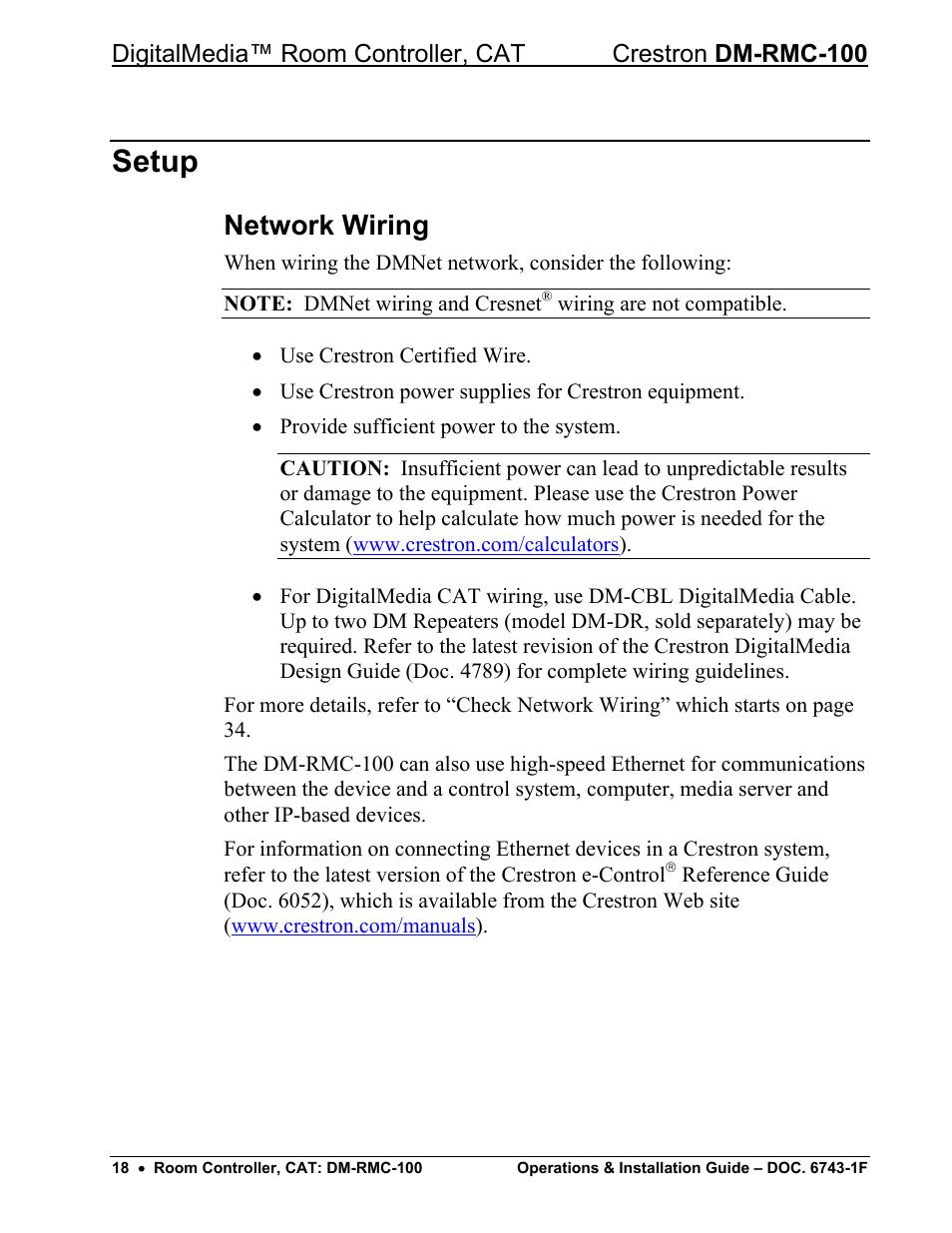 medium resolution of setup network wiring crestron electronic digitalmedia room controller dm rmc 100 user manual page 22 44
