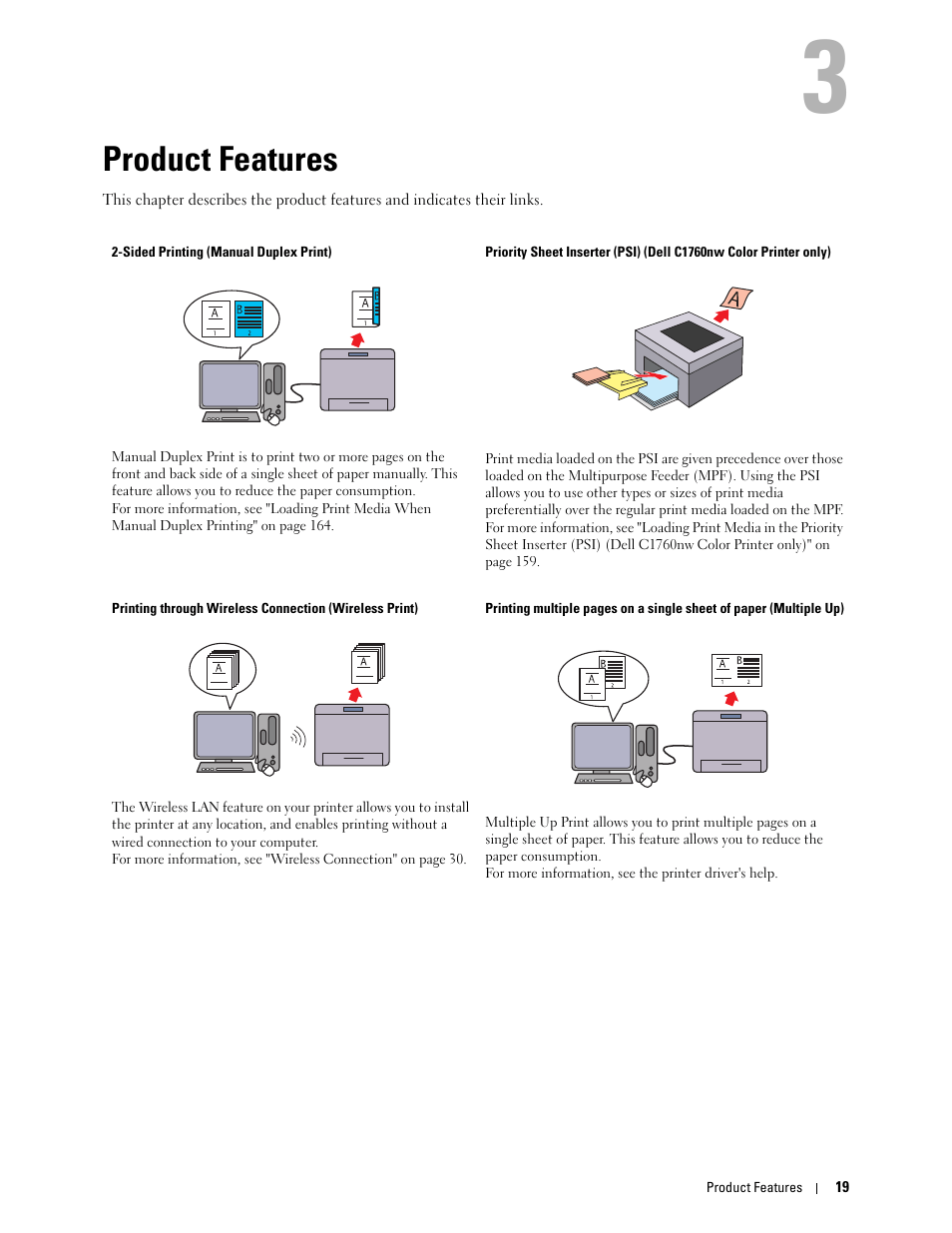 hight resolution of product features 3 product features dell c1760nw color laser printer user manual page 21 240