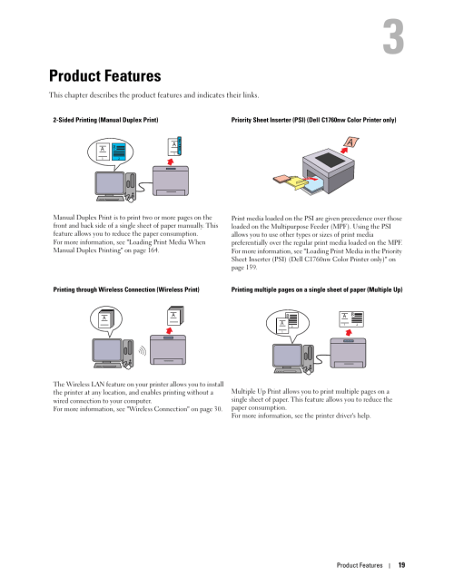 small resolution of product features 3 product features dell c1760nw color laser printer user manual page 21 240