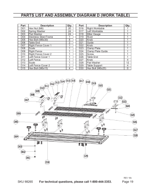 Parts list and assembly diagram d (work table)   Chicago