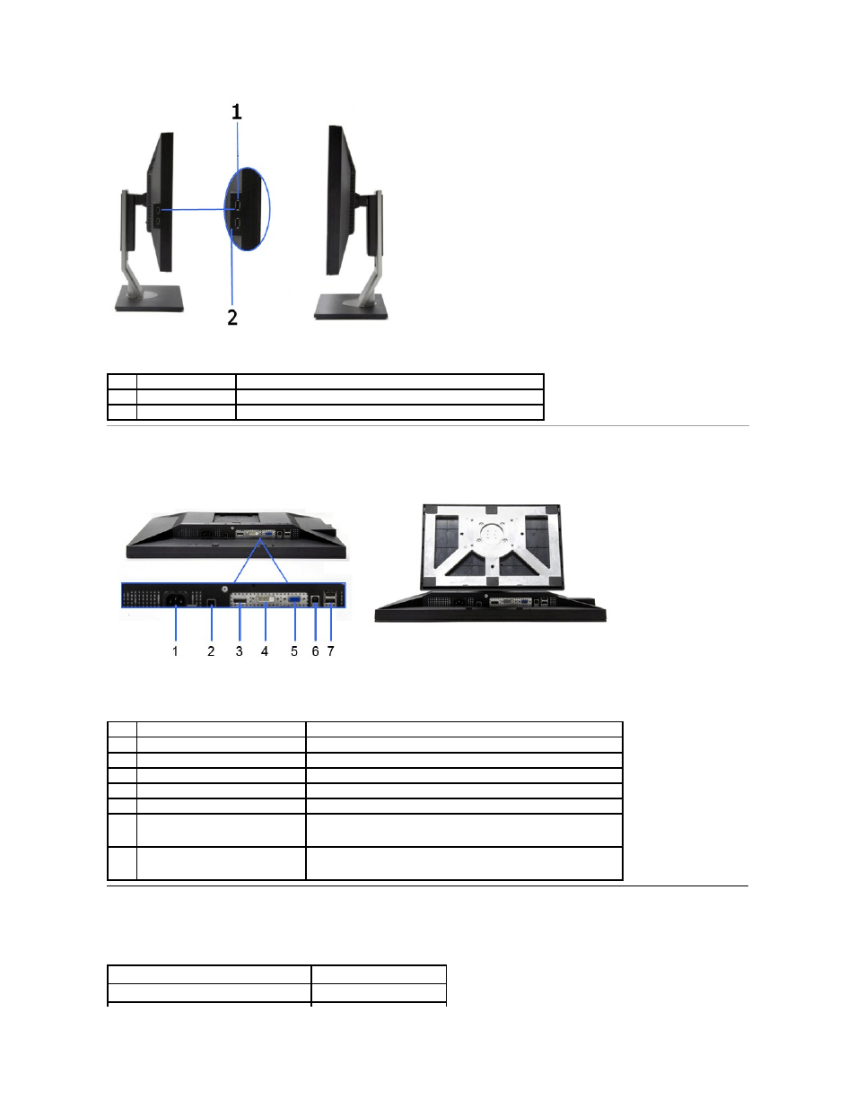 Monitor specifications, Bottom view, Flat panel