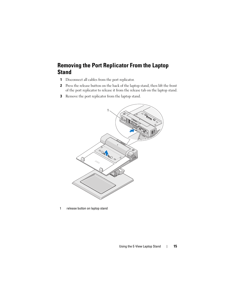 hight resolution of removing the port replicator from the laptop stand dell e view laptop stand user manual page 15 20