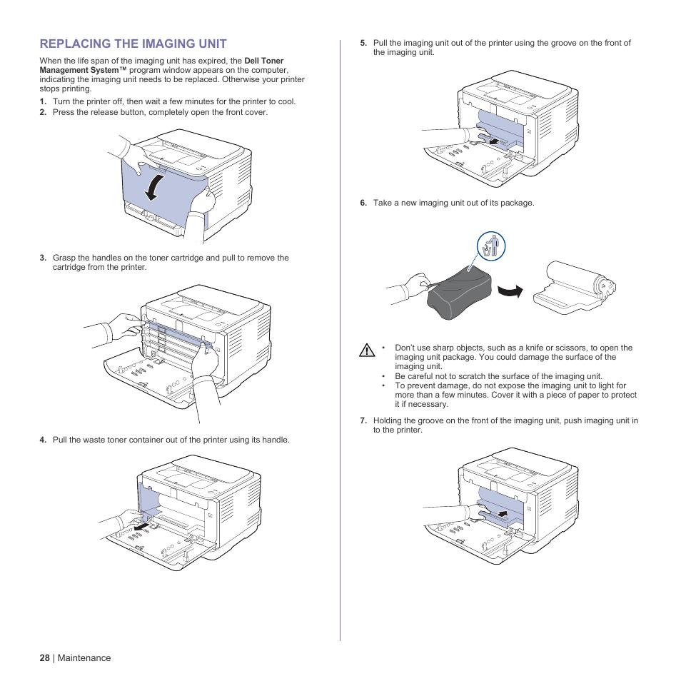 Replacing the imaging unit, 28 replacing the imaging unit