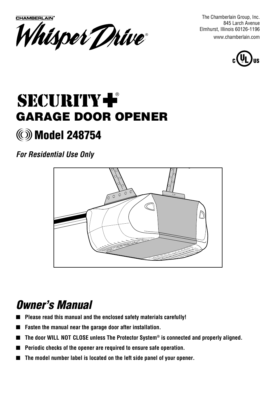 Chamberlain Whisper Drive Garage Door Opener Wiring