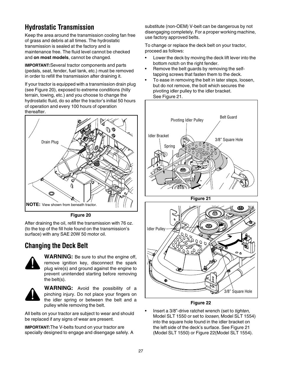 medium resolution of hydrostatic transmission changing the deck belt cub cadet slt1554 user manual page 27 40