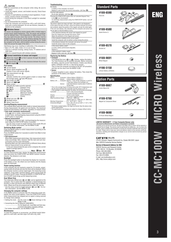 Cc-mc100w micro wireless, Standard parts, Option parts