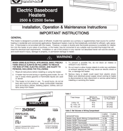 qmark qmkc series electric commercial baseboard heaters user manual 12 pages also for 2500 series electric baseboard heaters [ 954 x 1235 Pixel ]