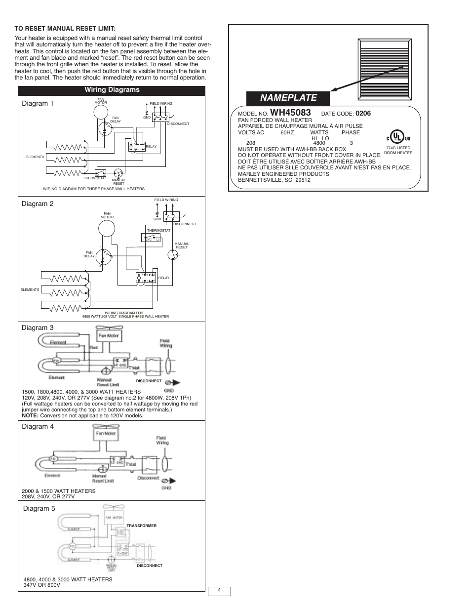 medium resolution of nameplate wiring diagrams qmark awh4000 series architectural heavy duty wall heaters user manual page 4 15