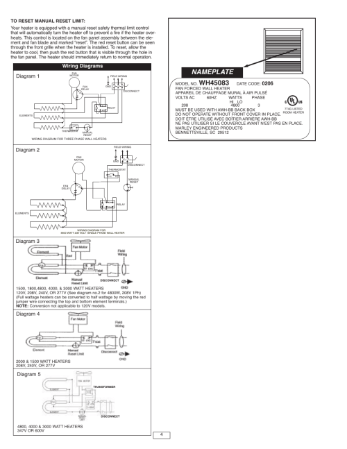 small resolution of nameplate wiring diagrams qmark awh4000 series architectural heavy duty wall heaters user manual page 4 15