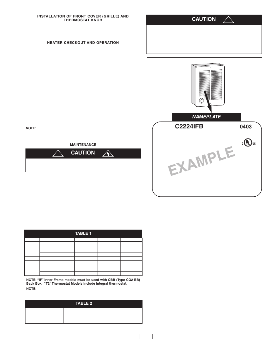 hight resolution of example c2224ifb caution qmark cra series residential fan forced zonal wall heaters user manual page 3 12