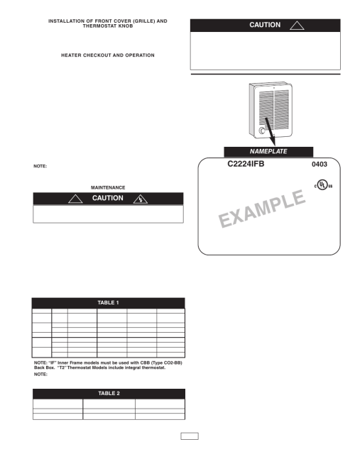 small resolution of example c2224ifb caution qmark cra series residential fan forced zonal wall heaters user manual page 3 12