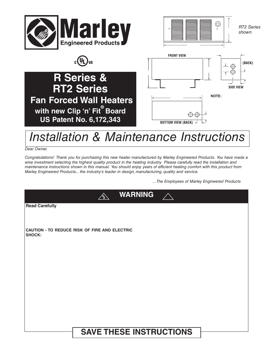 medium resolution of qmark gfr series fan forced wall heaters user manual 12 pages marley engineered products thermostat wiring