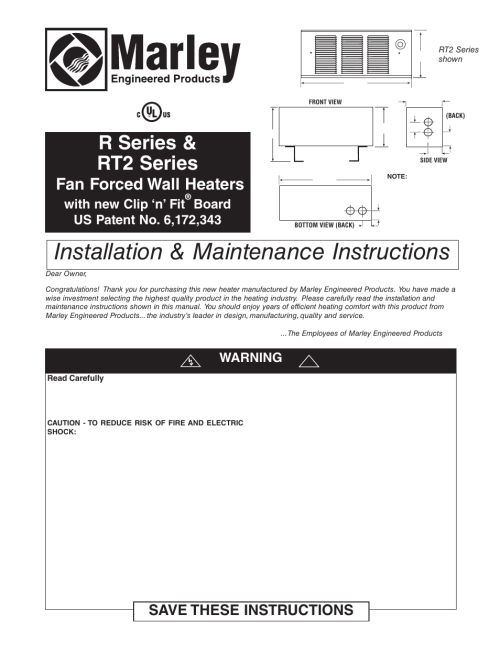 small resolution of qmark gfr series fan forced wall heaters user manual 12 pages marley engineered products thermostat wiring