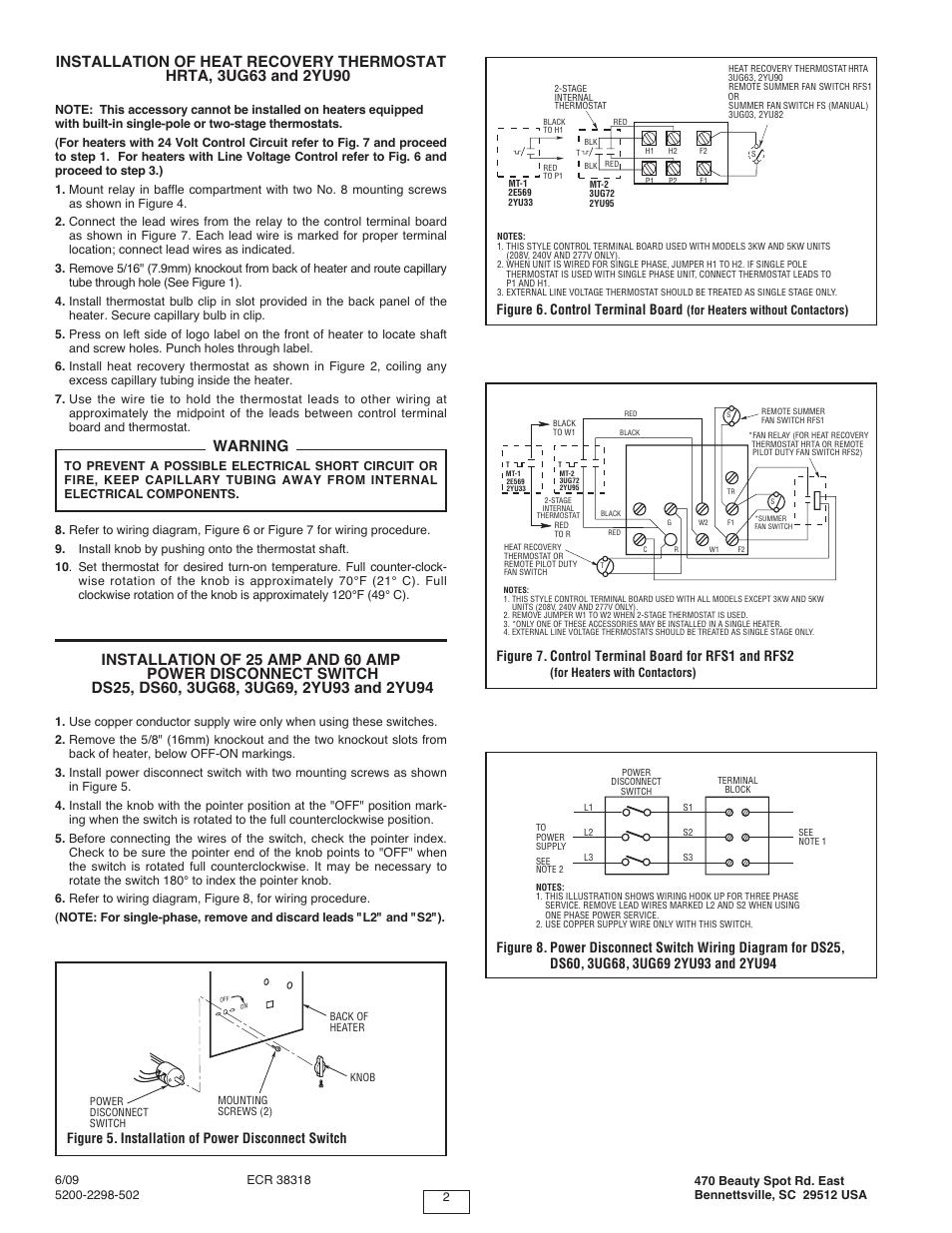 medium resolution of warning figure 6 control terminal board qmark muh horizontal downflow unit