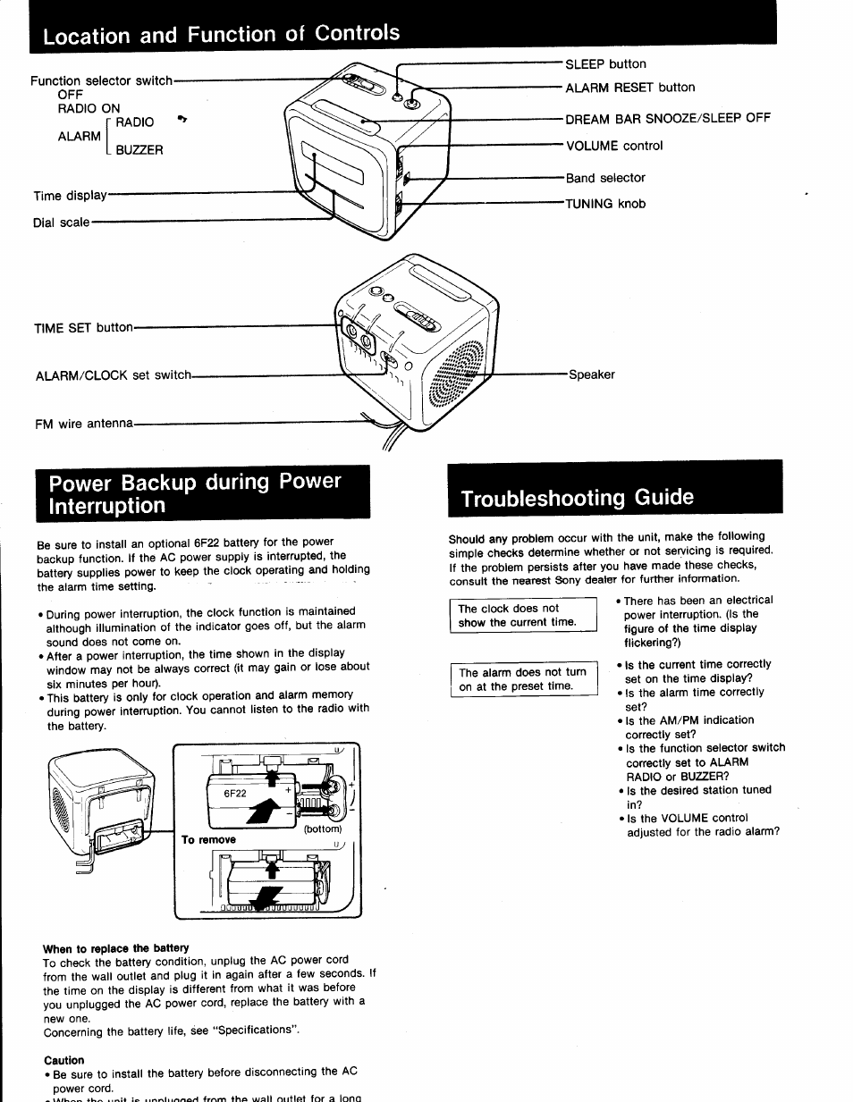 Location and function of controls, Power backup during