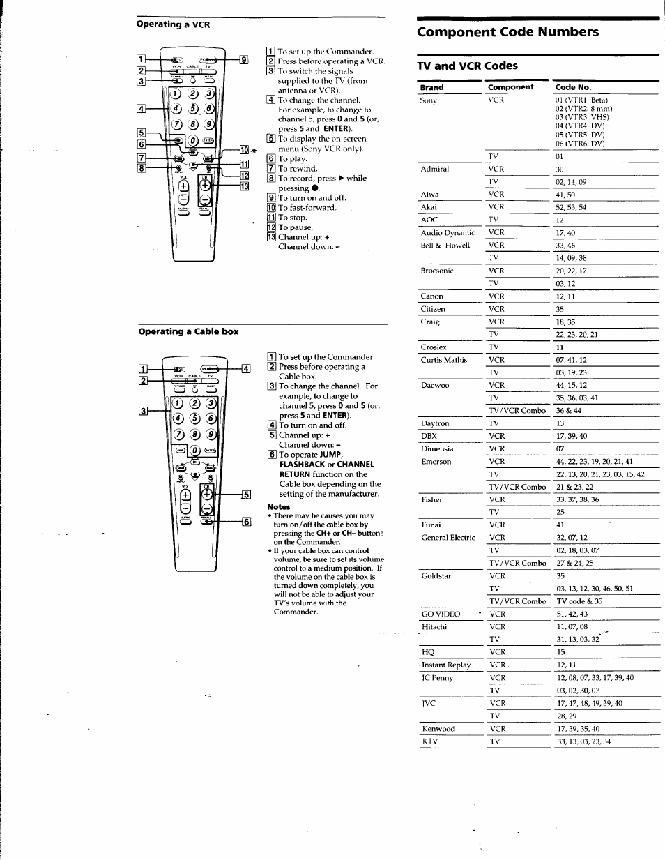 Operating a vcr, Component code numbers, Operating a cable