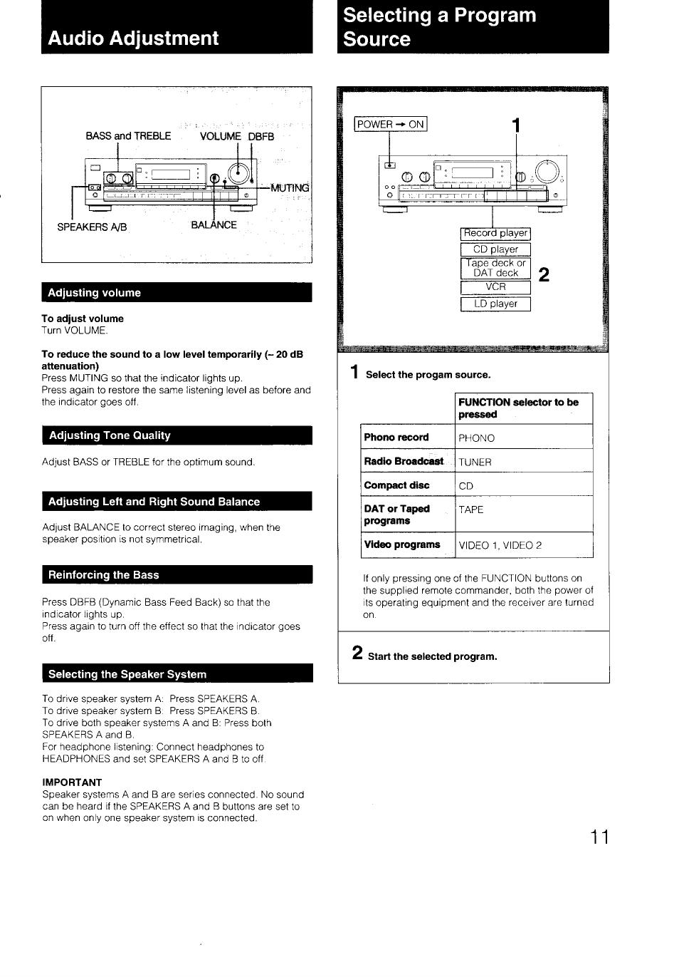 Audio adjustment, Selecting a program source, Adjusting