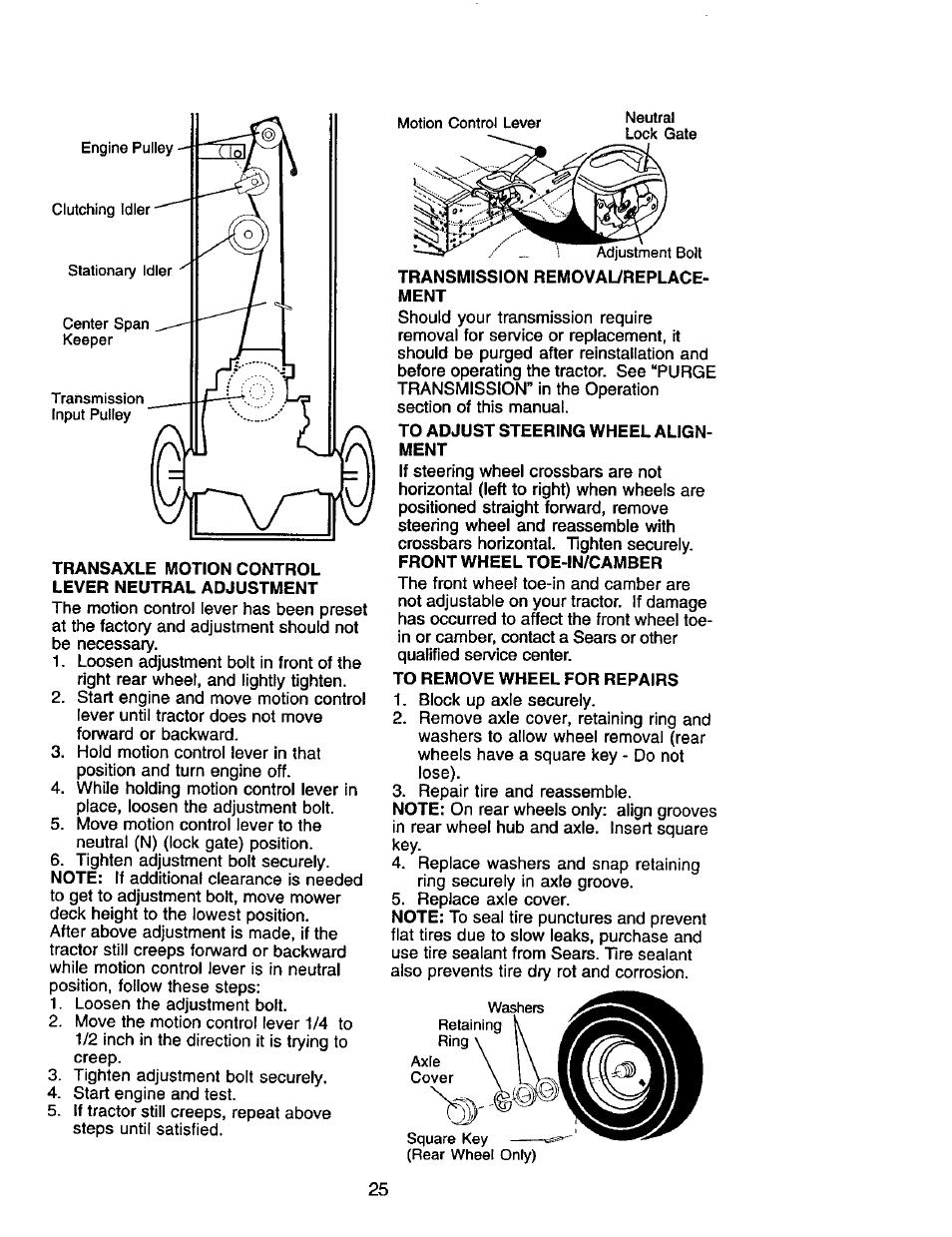 Transaxle motion control lever neutral adjustment