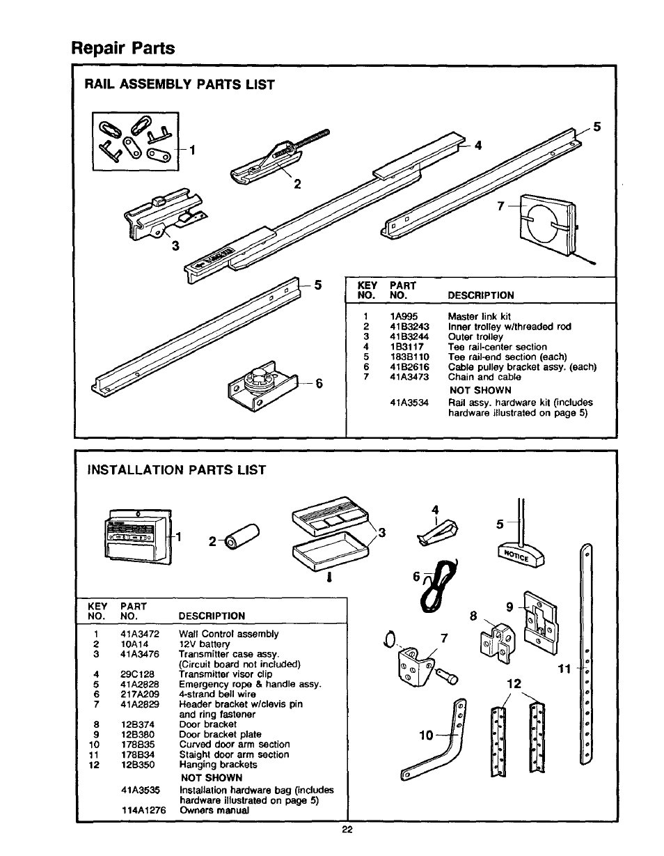 Rail assembly parts list, Installation parts list, Repair