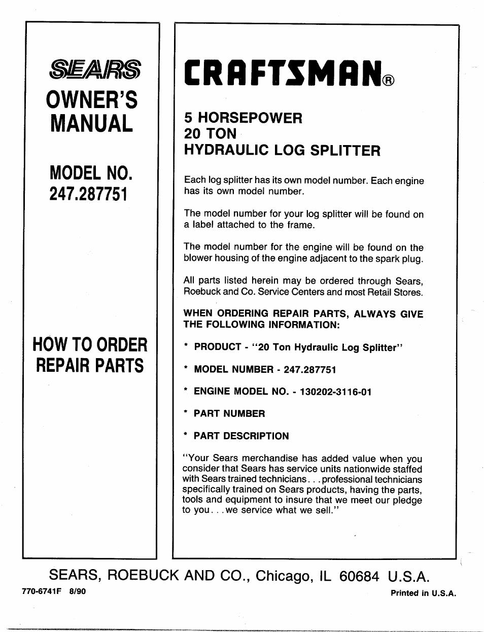Sears Log Splitter 27 Ton