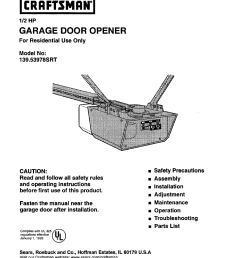 craftsman 1 2 hp garage door opener 139 53978srt user manual 40 pages craftsman garage door opener sensor wiring diagram craftsman garage door opener  [ 954 x 1239 Pixel ]