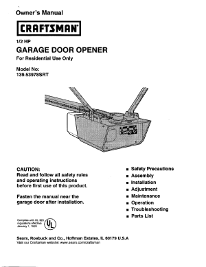 Craftsman 12 HP GARAGE DOOR OPENER 13953978SRT User Manual | 40 pages