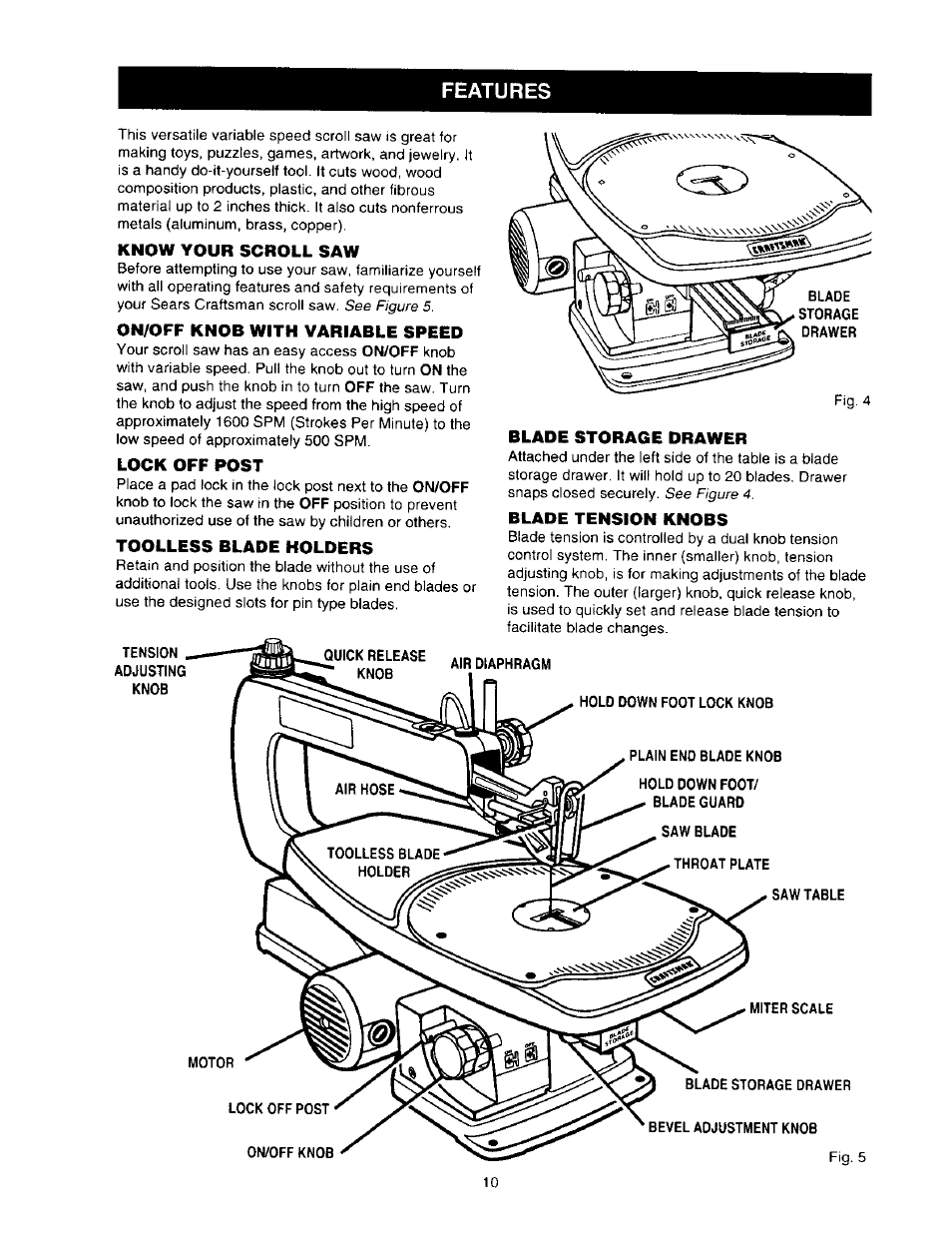 Know your scroll saw, On/off knob with variable speed